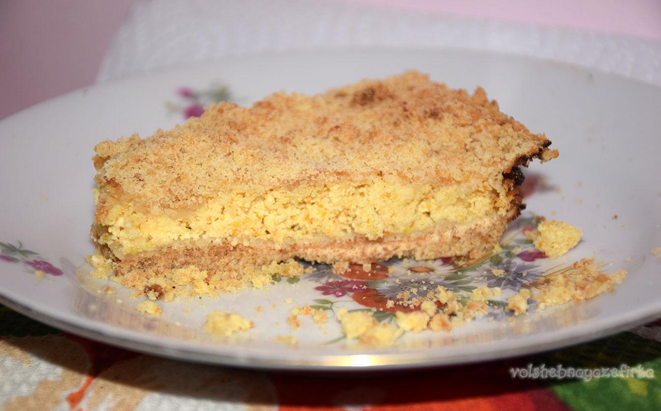 Насыпной пирог с творогом рецепт