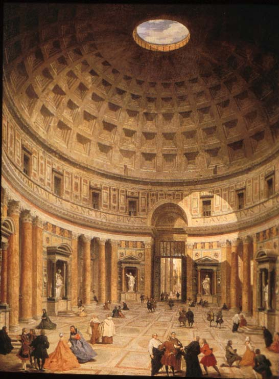 the pantheon temple dedicated to all 'pantheon' means 'to all the gods' and this is a temple dedicated to all of the pagan gods of ancient rome - venus, jupiter, mars, and so on - and it was.