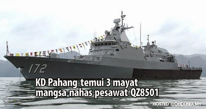Kapal TLDM KD Pahang temui 3 mayat mangsa nahas AirAsia QZ8501