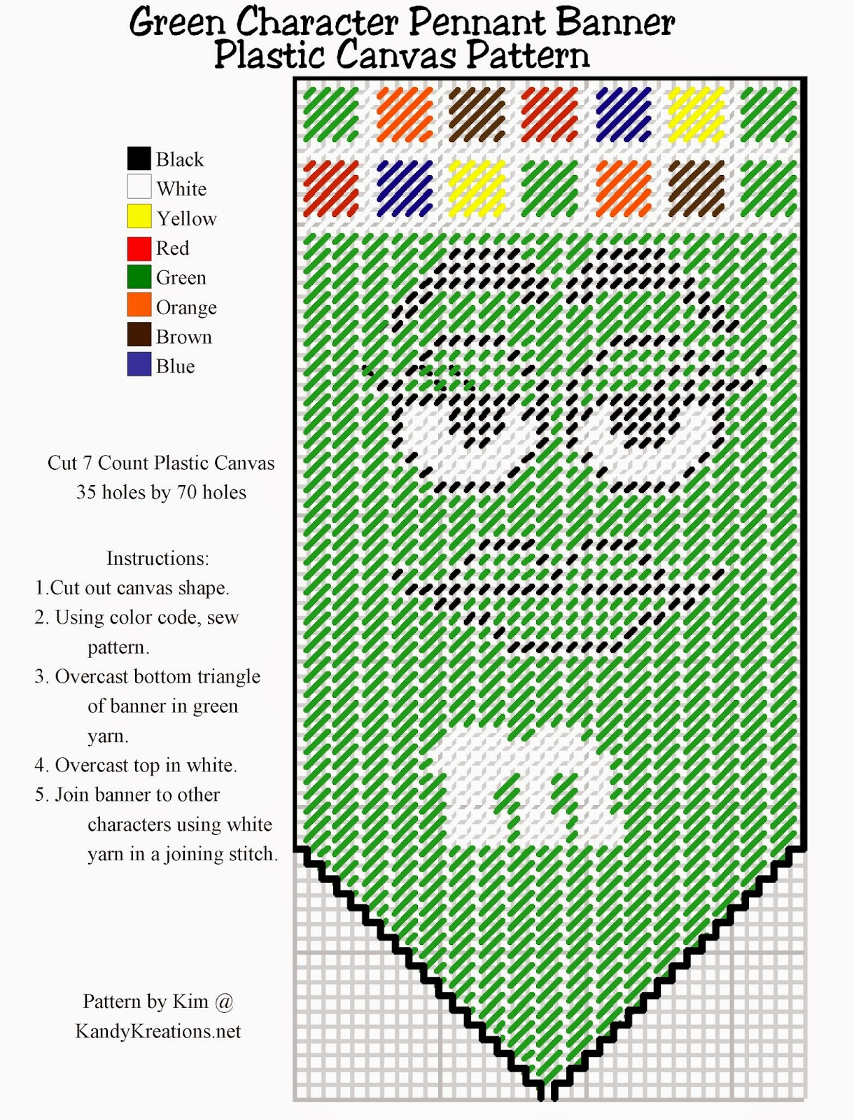 Make your own pennant banner with the green M&M character using this Plastic canvas pattern freebie.  Simply right click and save this pattern to create your own party decoration or kitchen decor.