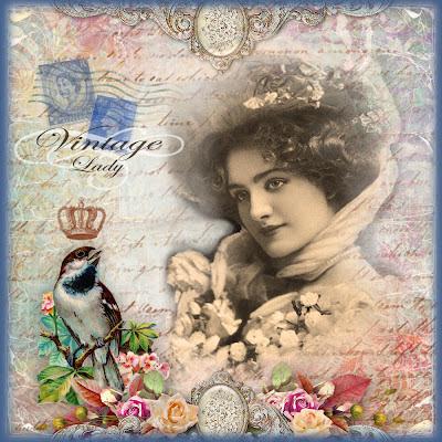 fondo victoriano con dama y flores