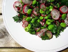Broad Bean, Mint and Pomegranate Salad