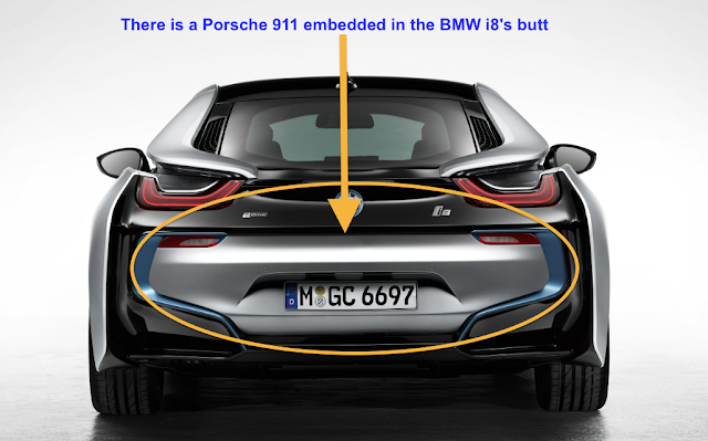 There is a Porsche 911 embedded in the BMWi8's butt
