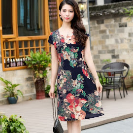 New 2018 32-Design Plus Size Drawstring Waist Smooth Cotton Dress