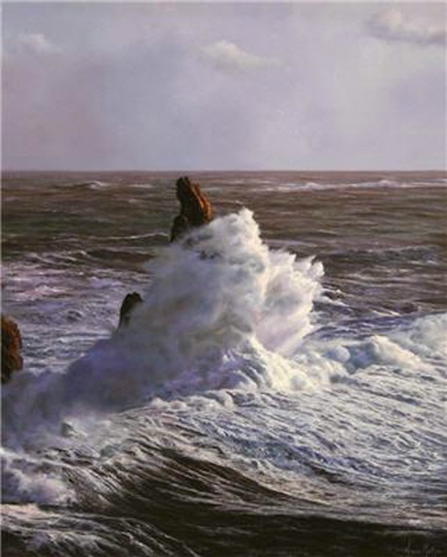 hyperrealistic seascapes paintings by Alfredo Navarro