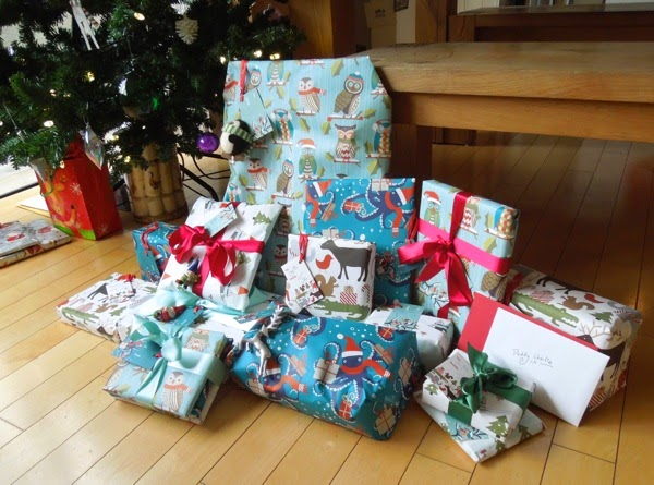 Animal gift-wrapped Christmas presents