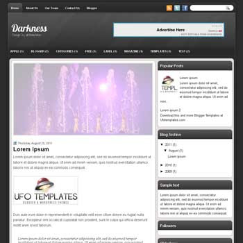 Darkness blogger template. template blogspot magazine style. black color background blogger template