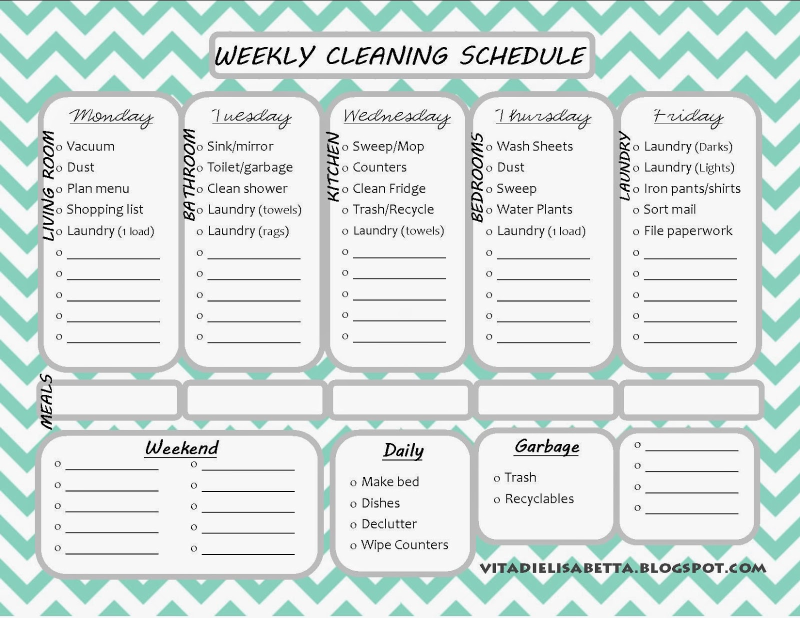 list junkie weekly cleaning schedule free printable dandelion discoveries. Black Bedroom Furniture Sets. Home Design Ideas