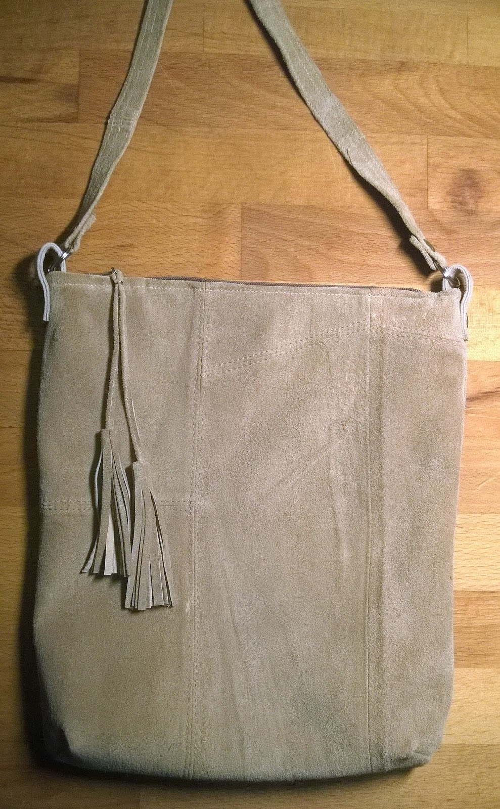 DIY suede purse, recycled leather