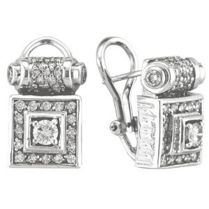 18K White Gold Victorian Style Diamond Clip Earrings