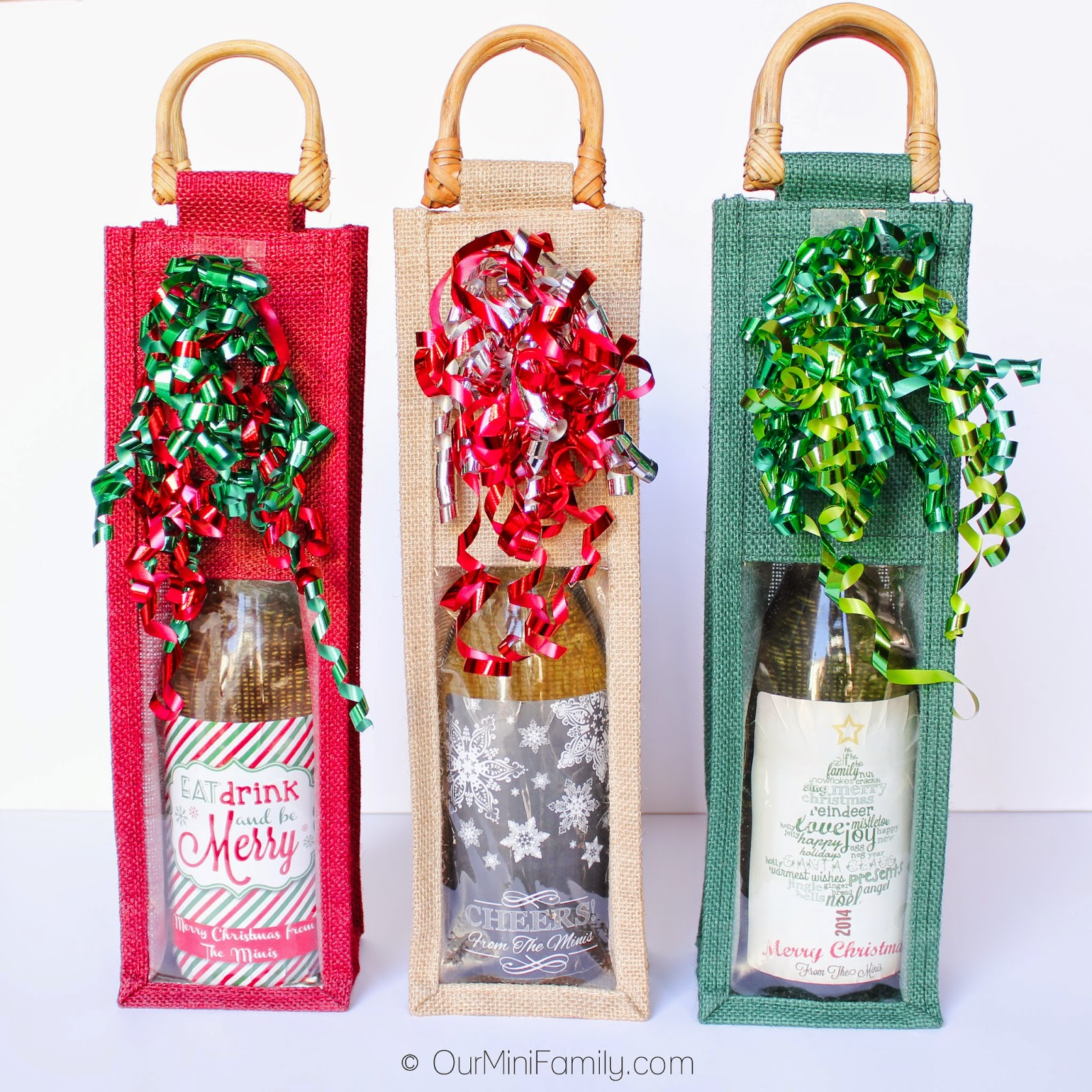 Wine Gifts For Christmas Part - 27: BurlapFabric.comu0027s Clear Window Burlap Wine Bags Are Great If You Want To  Bring Attention To The Label Of The Wine, Champagne, Or Sparkling Cider You  Bring ...