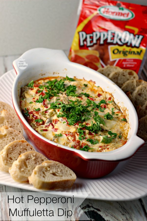 Hot Pepperoni Muffuletta Dip | Cheesy, briny, meaty deliciousness! #PepItUp #ad
