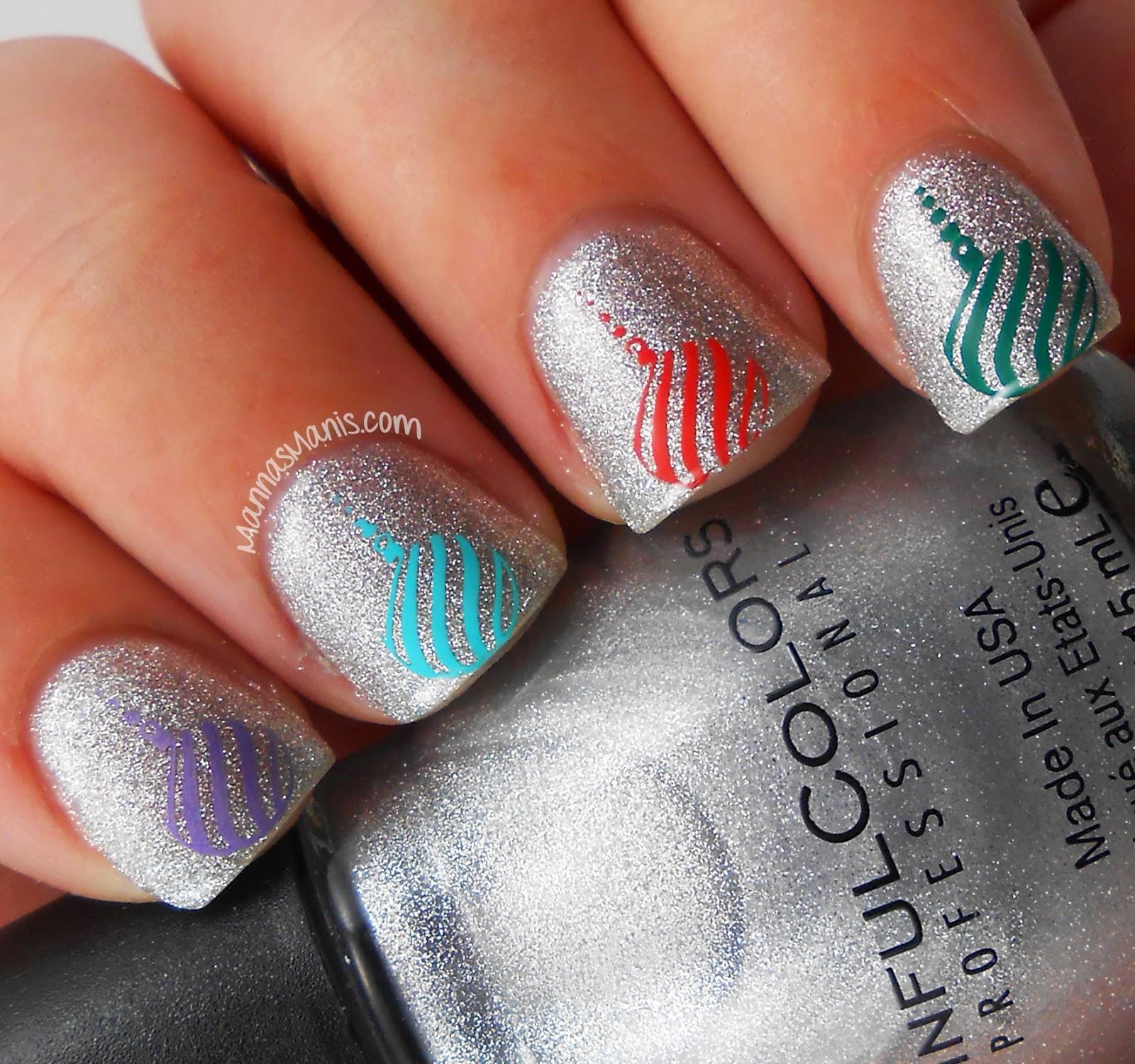 christmas nail art, nail stamping