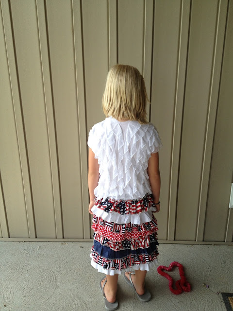 Back view of ruffle skirt-how to sew