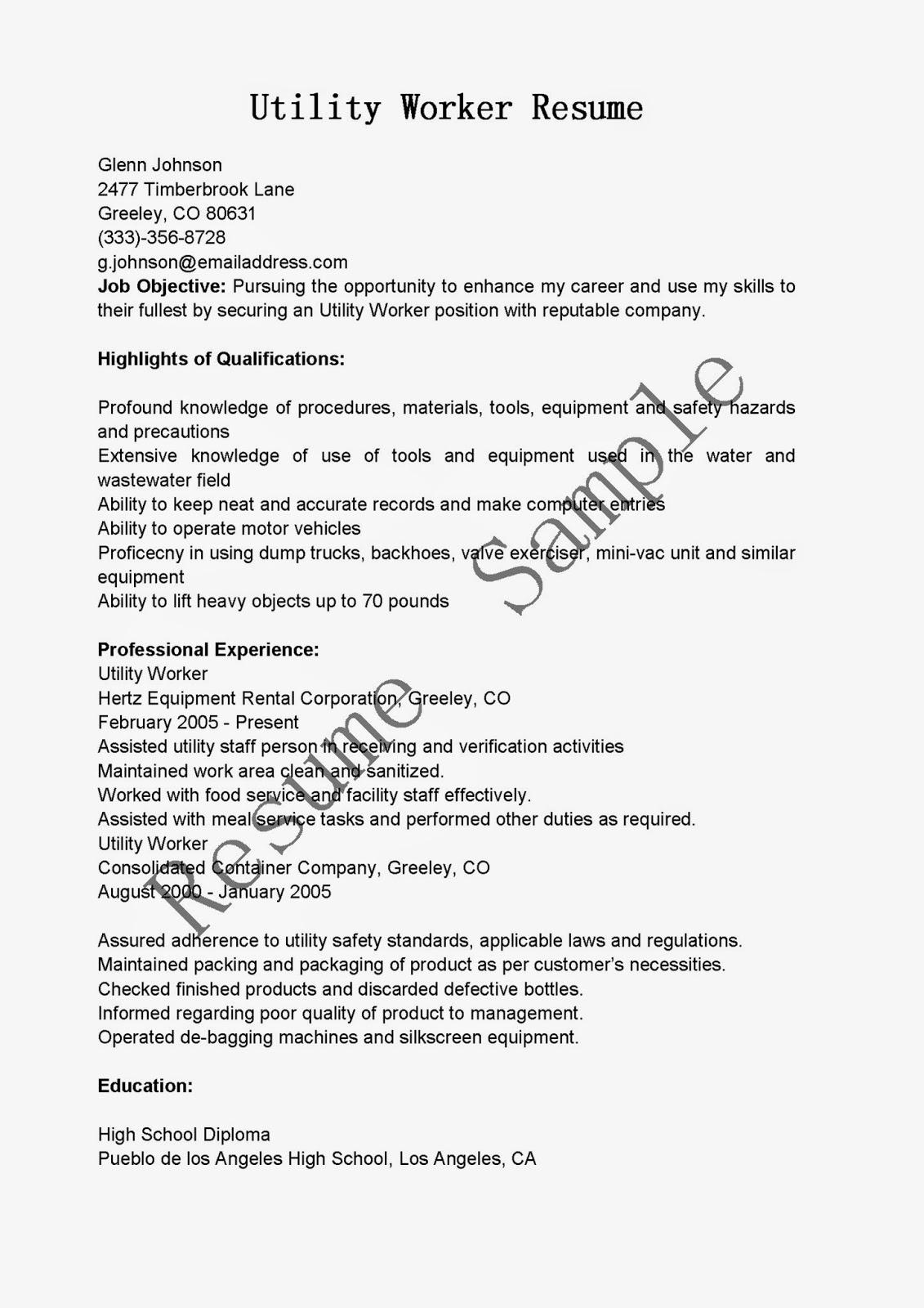 Resume Sample For Utility Worker Plks Tk