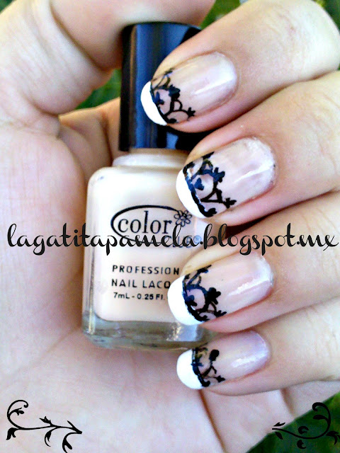 french manicure with black lace