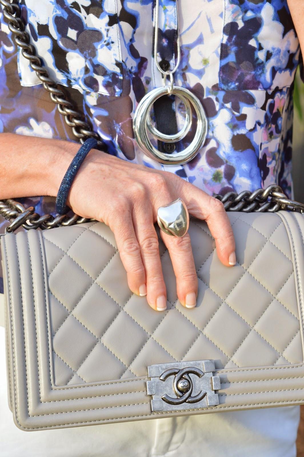Grey Chanel Bag Swarovski Bracelet Georg Jensen Heart Ring