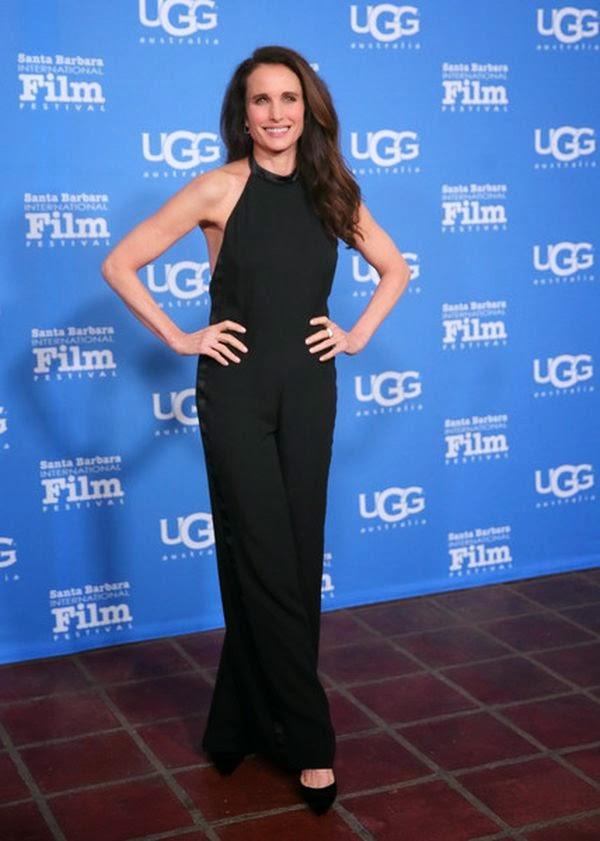 Andie MacDowell wears a black jumpsuit at Santa Barbara on Saturday, January 3, 2015