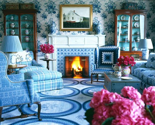 rustic, traditional design, mixing patterns, blue
