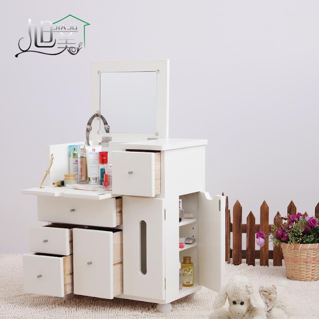functional very small dressing table with plenty of drawers and folding mirror