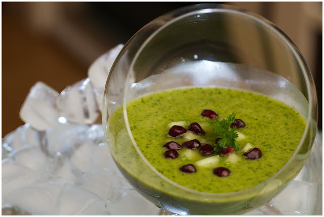A photograph of a green Gazpacho