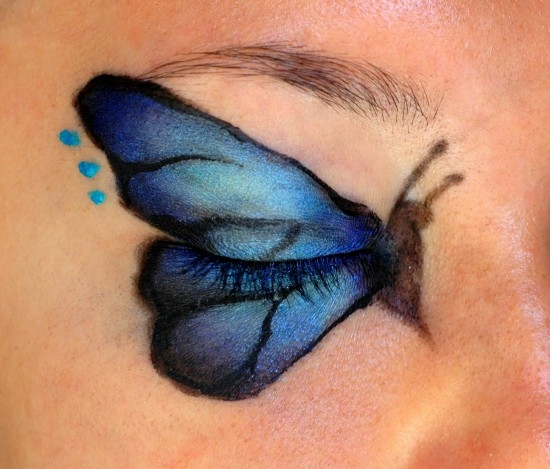 Hot Blue Butterfly Eye Makeup