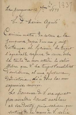 Carta de Carles Bosch de la Trinxeria a Marià Aguiló (1)