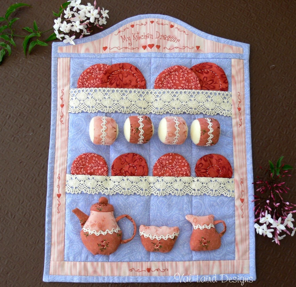 Val laird designs journey of a stitcher finishing off for Quilted kitchen set