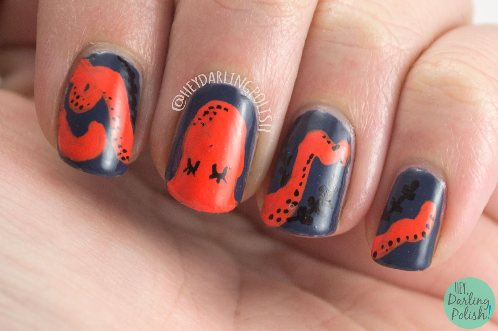nails, nail art, nail polish, octopus, hey darling polish, pattern, guest post