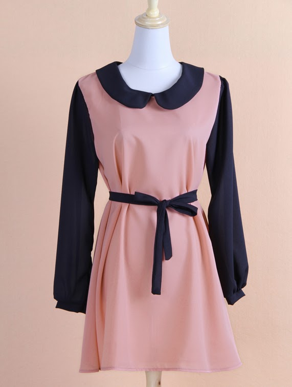 Retro Stylish Women's Nip Waisted Long Sleeve Dress Pink