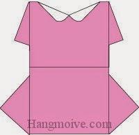 Bước 11: Hoàn thành cách xếp váy đầm đi chơi bằng giấy theo phong cách origami.