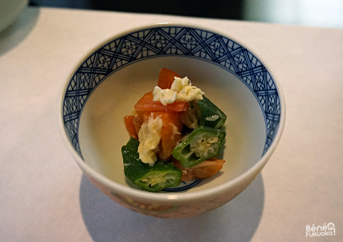 Tomatoes, okra and blowfish jam / オクラ、トマトとふくのオイル漬け