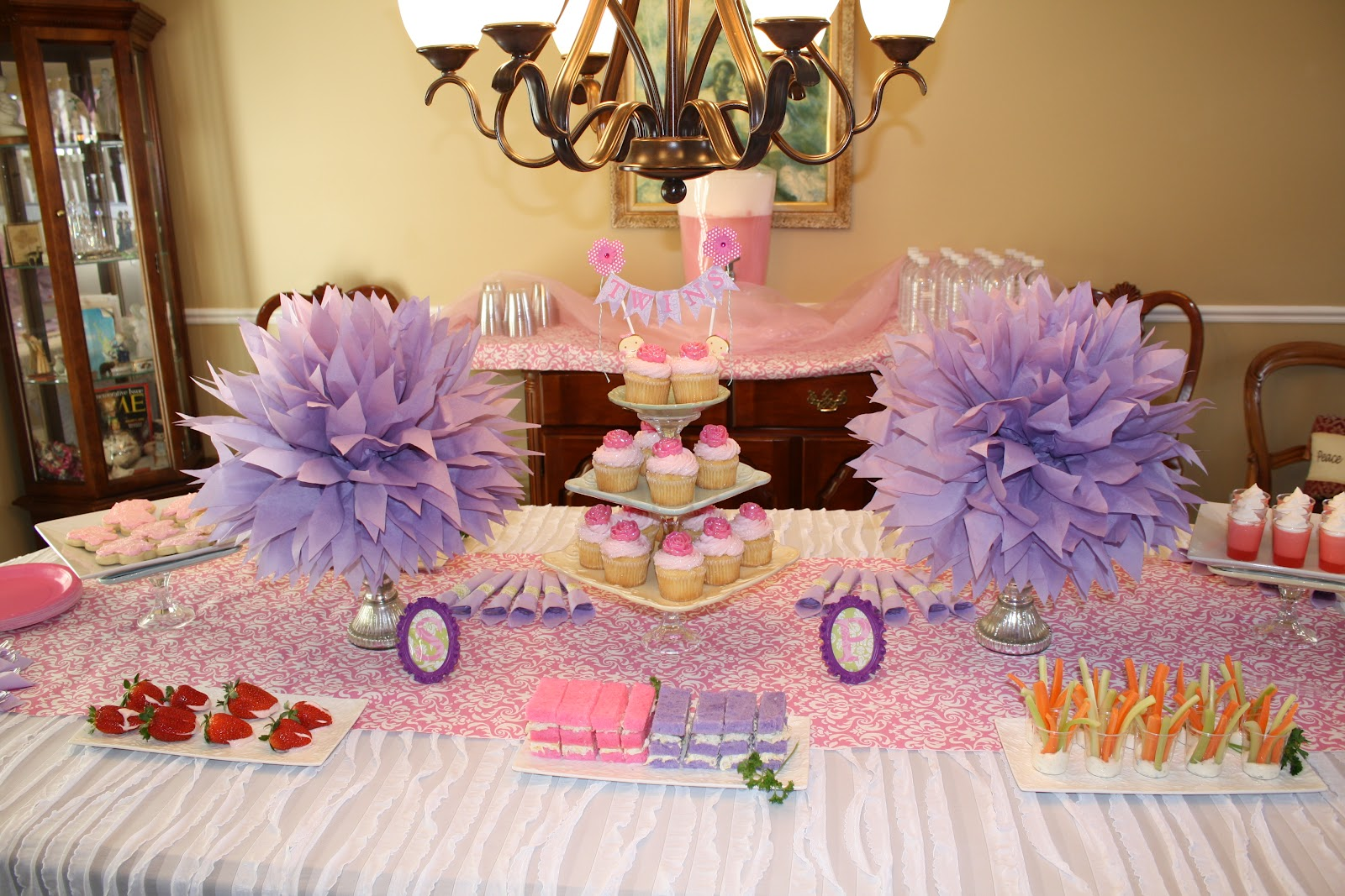 The silver spoon twins it 39 s a girl baby shower for Baby shower decoration twins
