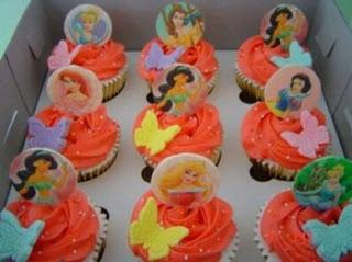 Cupcakes o Magdalenas de las Princesas de Disney para Fiestas Infantiles, parte 1