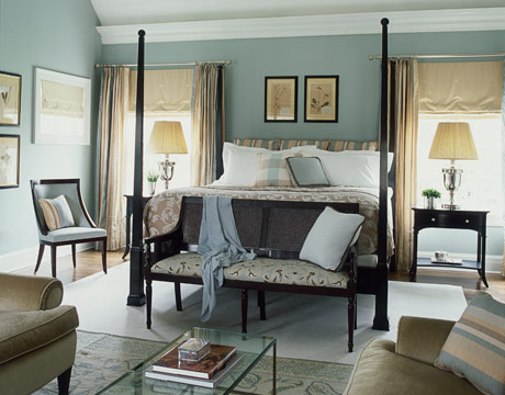 Modern country style case study farrow and ball powder blue Master bedroom light blue walls