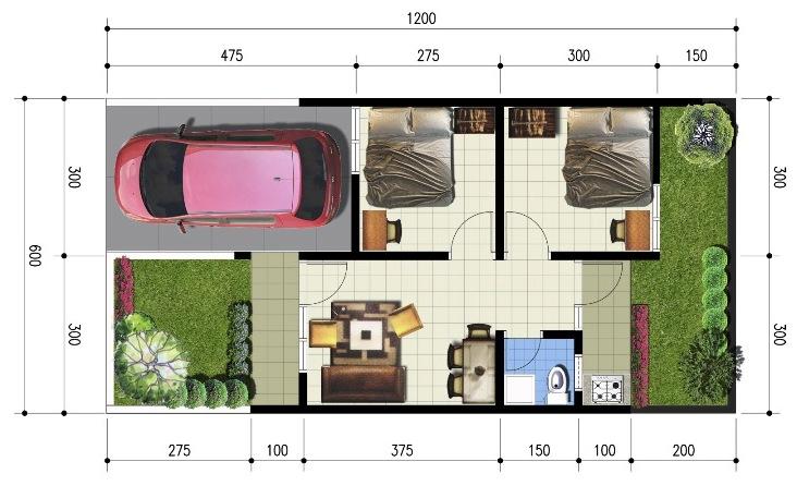 Denah Minimalis Ukuran  Referensi Rumah