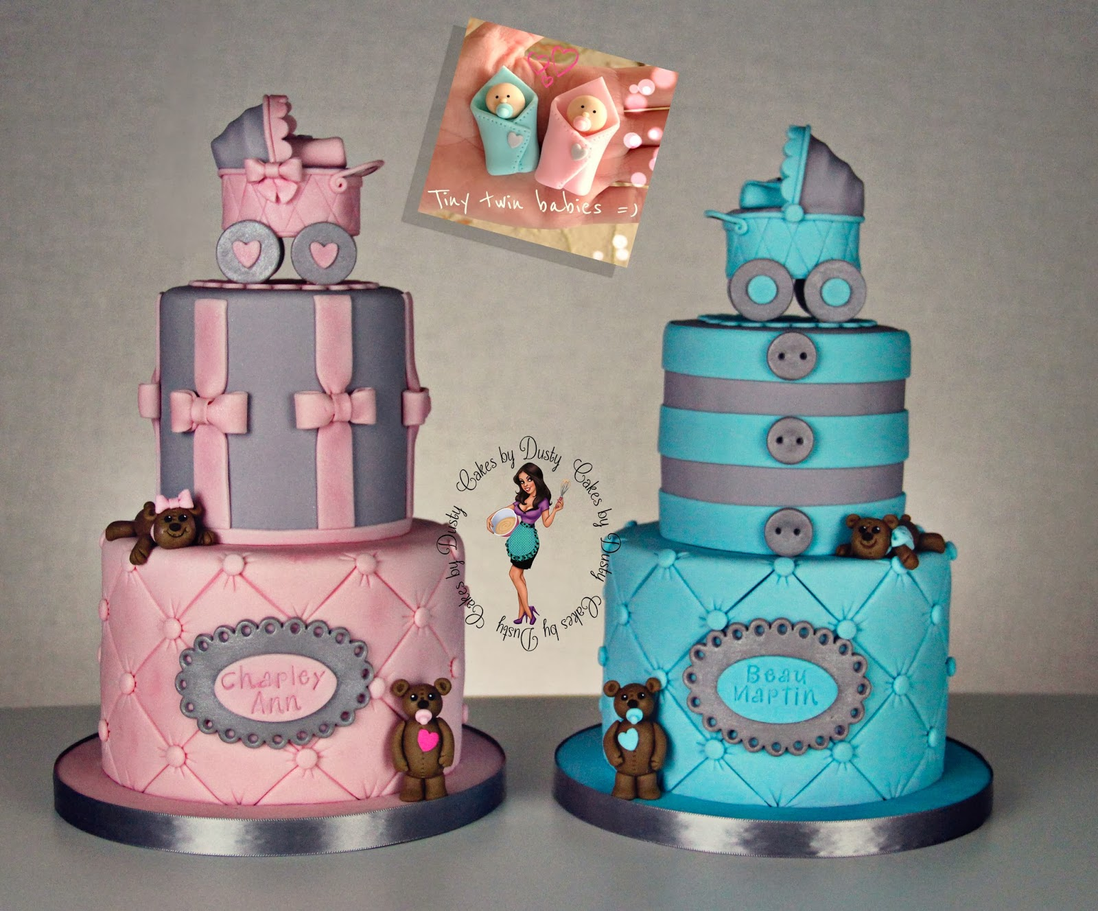 Cakes by dusty for Baby shower decoration ideas for twin girls