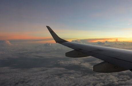 vuelo, avión, nubes