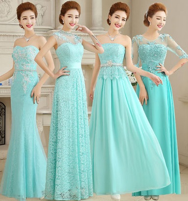Four Design Luxury Turquoise Blue Bridesmaid/Evening Dress