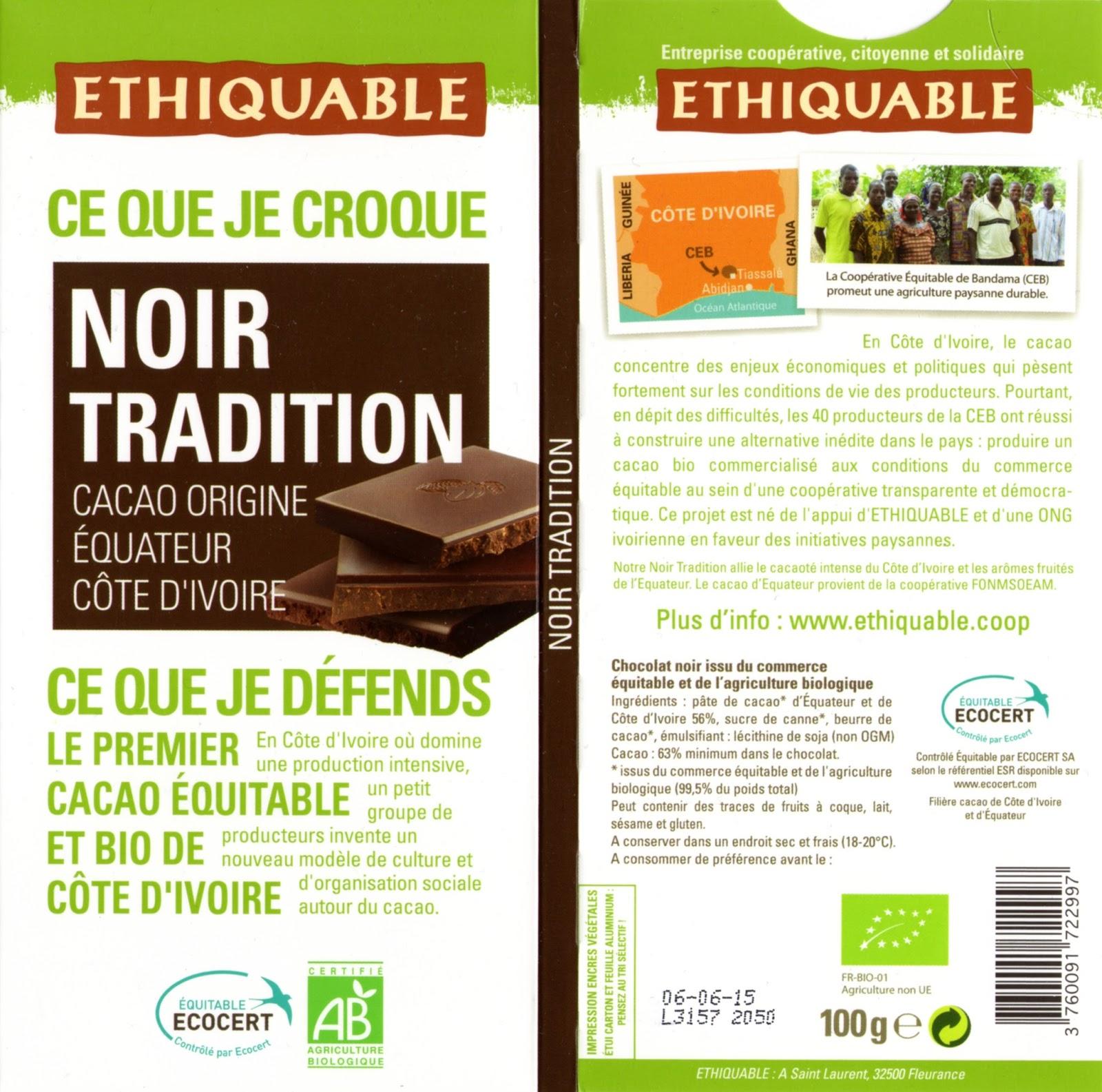 tablette de chocolat noir dégustation ethiquable equateur côte d'ivoire noir tradition 63