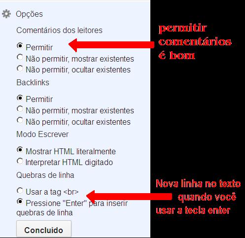 opções do editor de postagem no blogger nova interface atualizada