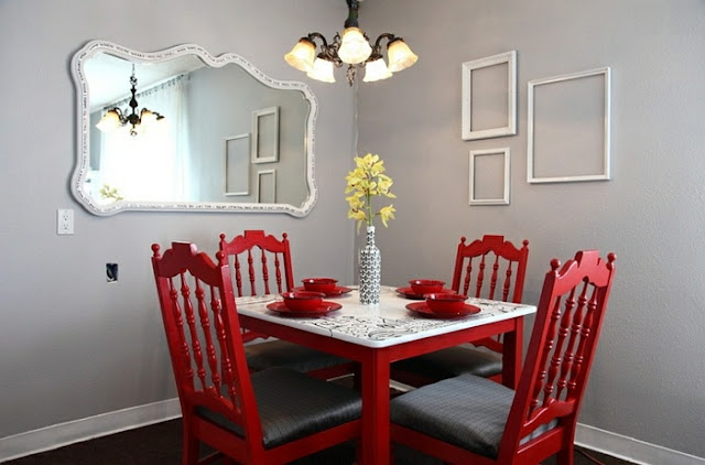 red dining room sets