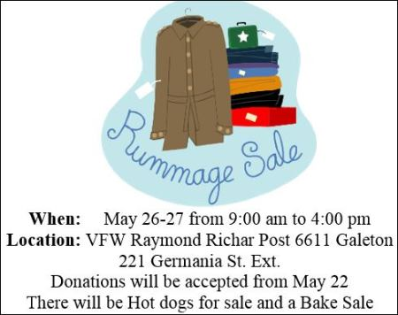 5-26/27 Galeton VFW Rummage Sale