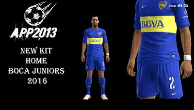 PES 2013 New Kit Home Boca Juniors 2016 by APP2013