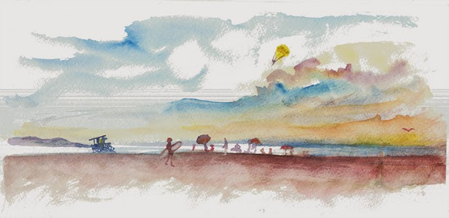 "Shiho Nakaza ""Los Angeles"" ""Santa Monica"" California sunset watercolor sketching sketch beach"
