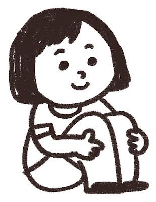 体育座りのイラスト「女の子」 白黒線画