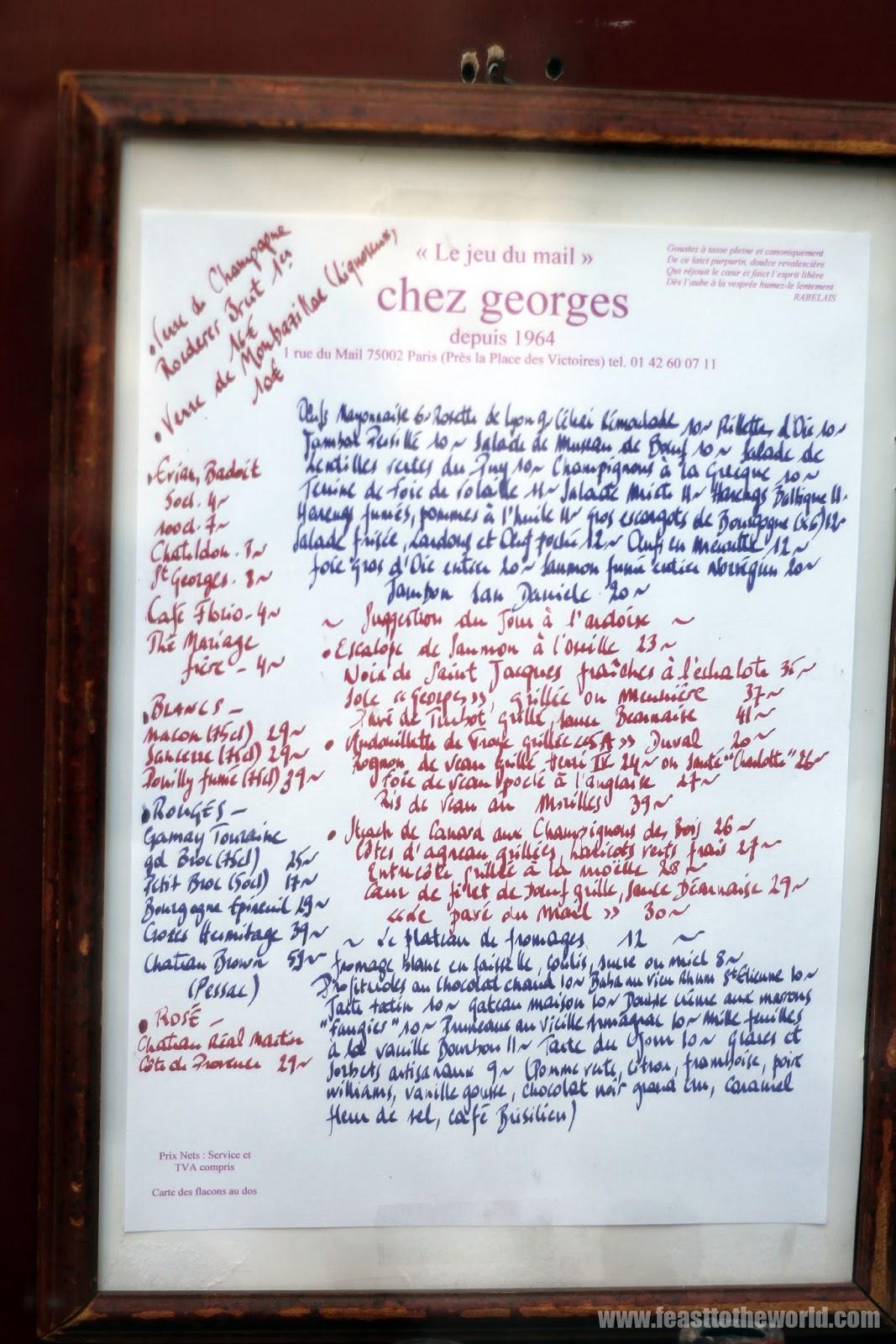 Feast To The World Paris Part 2 Chez Georges