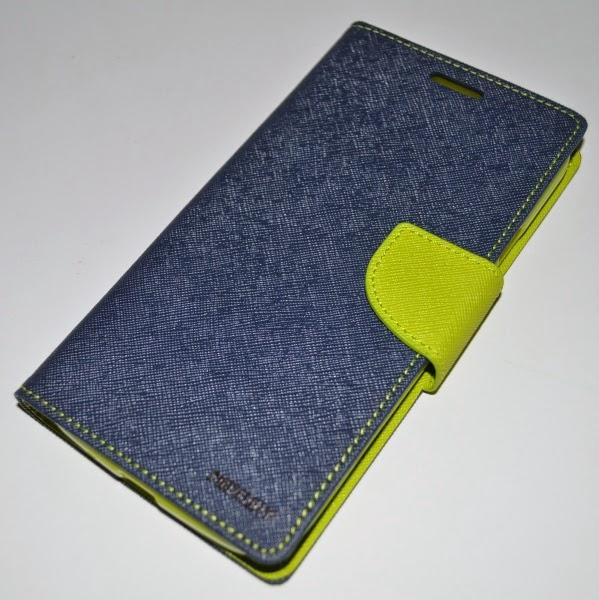 Mercury Goospery Fancy Diary Wallet Leather Case for Samsung Galaxy Mega 5.8 I9150 I9152 - Dark Blue