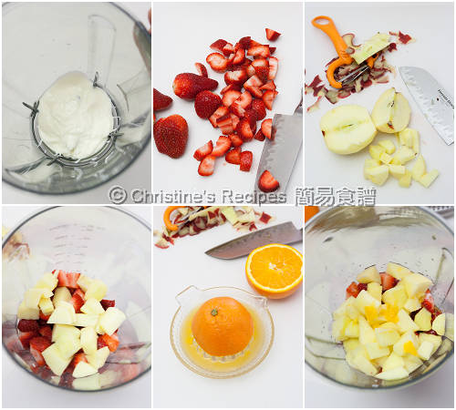 士多啤梨果泥製作圖  How To Make Strawberry Smoothie