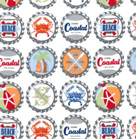 Going Coastal beachy & nautical Bottlecaps quilting fabric